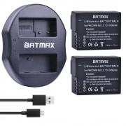 2 Pack DMW-BLC12, BLC12E, BLC12PP, BLC12 Batterij + Dual Charger/Usb-kabel voor Panasonic Lumix FZ1000, FZ200, FZ300, G5, G6, G7, GH2, DMC-GX8