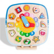 shape sorting Clock Puzzle Early educational wooden shape magenetic preschool learning blocks clock toys for kids age 1 year old and up puzzles