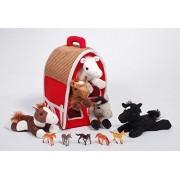 "12"" Red Plush Horse Barn with 5 Stuffed Animal Horses by Unipak and 5 Bonus Horse Figures"