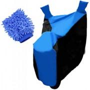 RWT Two Wheeler Cover(Black Blue) With Microfiber Glove Yamaha Fascino