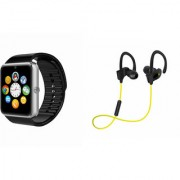 Zemini GT08 Smart Watch and QC 10 Bluetooth Headphone for LG OPTIMUS L3 DUAL(GT08 Smart Watch with 4G sim card camera memory card |QC 10 Bluetooth Headphone )