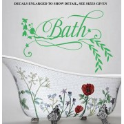FLORAL BATH WITH LEAVES QUOTE WALL ART STICKER VINYL DECAL VARIOUS SIZES - sml 500 x 360mm