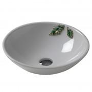 Cup lavabo da appoggio bianco 47 cm con applicazione Pietre Naturali e Swarovsky decoro Foglie di Quercia