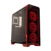 Gabinete de PC Noga NG-8609-CF-Negro con Rojo