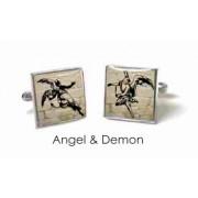 Tyler & Tyler Stencilart White Bricks Cufflinks ANgel & Demon
