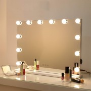 Bright Beauty Vanity hollywood make up spiegel met verlichting - 58 x 43 cm - zonder rand - drie lichtstanden - wit