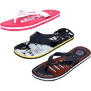 IndiWeaves Men Step Care Flip Flop House Slipper and Hawaai Chappal-(Pack of 3)