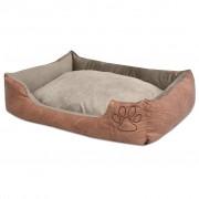 vidaXL Кучешко легло с възглавница, PU изкуствена кожа, р-р L, бежово