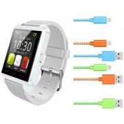 U8 Pro White Bluetooth Smart Watch iOSAndroid Compatible with Hi Speed Lightning Cable for iPhonesiPadiPod