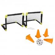Dunlop Voetbal set 2x opvouwbare voetbaldoelen 50 cm met bal en 64x pionnen