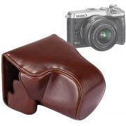 Full Body Camera PU lederen tas tas met riem voor Canon EOS M6 (koffie)