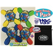"""Hog Wild Room A Rang (Soft Indoor Boomerangs) Blue, Red, Green & Yellow Party Set Bundle with Exclusive """"Matty's Toy Stop"""" Storage Bag - 4 Pack"""