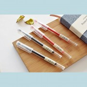 JIANWU 2pcs MUJI style Simple transparent rod neutral pen office supplies school giftGift 0.5mm 0.38mm