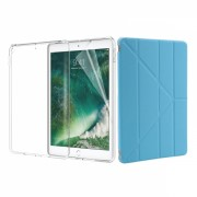 Set 3 in 1 husa carte, husa silicon si folie protectie ecran pentru iPad 9.7 inch 2017 / 2018 / A1893 / A1954 / A1822 / A1823, azuriu