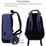 Hbns Anti Theft Backpack Waterproof Business Laptop Bag with USB Charging Port for 15 Laptop Camera and Mobile - Blue