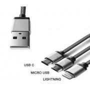 3 az 1-ben USB töltőkábel/USB C/Micro USB/Lightning