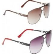 VS Club Aviator Sunglasses(Grey, Brown)