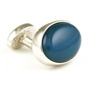 Mousie Bean Crystal Cufflinks Oval Semi Precious 005 Blue Agat