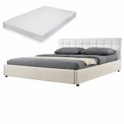 MyBed Cama tapizada + colchón 140x200cm blanco/crema cuero sintético + Textil - Castillo de Villamalefa