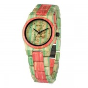 Bewell Ladies Green and Pink Bamboo Wood Watch