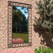 vidaXL Градинско стенно огледало, правоъгълно, 60x110 см, черно