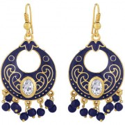 Spargz Gorgeous Gold Plated Daily Wear Blue Meenakari Chandbali Hook Earrings For Women AIER 1076