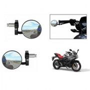 Kunjzone Bike Handle Grip Rear View Mirror BLACK Set Of 2- For Suzuki Gixxer SF Fi