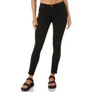 Rusty Spray Cotton Spandex Polyester Zip Button Black Womens Pants