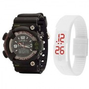 S Shock Black With White Led Combo Watch For Men Boys Pack OF 2