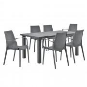 [casa.pro]® Vrtni stol sa 6 stolica sa naslonom za ruke- sa ratan efektom (siva)