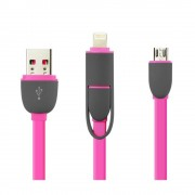 Cablu De Date 2 In 1 Iphone 5/6 + Micro Usb Roz pt Telefon Tableta