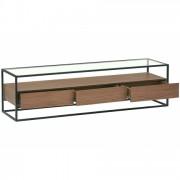 DECOME Meuble TV en verre et métal + 3 tiroirs bois noyer 150cm Ravy