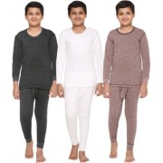 Vimal-Jonney Premium Blended Multicolor Thermal Top&Bottom Set For Boys(Pack Of 3)