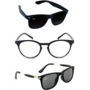 Rich Club Wayfarer, Round, Wayfarer Sunglasses(Black, Black, Clear)