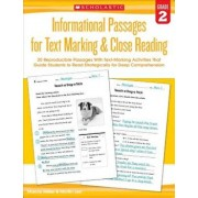 Informational Passages for Text Marking & Close Reading: Grade 2: 20 Reproducible Passages with Text-Marking Activities That Guide Students to Read St, Paperback/Martin Lee