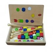 Joc potrivire cu bile colorate, lemn