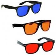 Elligator Wayfarer Sunglasses(Orange, Blue, Red)