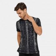 Camiseta Local Respingos Tinturada Bolso Masculina - Masculino
