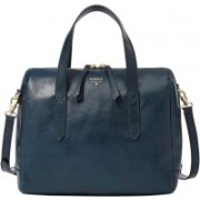 Fossil Women Casual Blue Genuine Leather Satchel