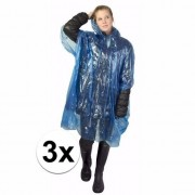 Geen 3x wegwerp regen poncho blauw