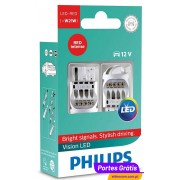 Philips LED Vision W21W Vermelho 12838REDX2 ( 2 Lâmpadas )