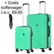 Connect Kofferset Groen Inhoud 90 en 28 Liter +Gratis Kofferweger