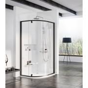 Ravak Pivot PSKK3-100 Háromrészes negyedköríves zuhanykabin fekete kerettel és fogantyúval transparent edzett biztonsági üveg betéttel 376AA300Z1