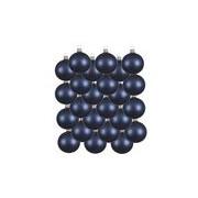 Merkloos 24x Donkerblauwe glazen kerstballen 8 cm mat