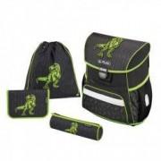Set Scoala Herlitz Loop Plus Green Dino - Ghiozdan Ergonomic Penar Echipat 1 Fermoar Penar Etui Sac Incaltaminte