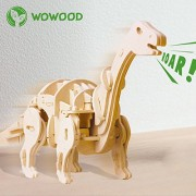 Wowood Walking Wooden Apatosaurus Dinosaur 3D Puzzle Robot Toy - Top Gift for Kids - Building DIY Toys Craft Puzzles - Children 6 7 8 Year Olds &up - Best Educational Gifts for Boys and Girls