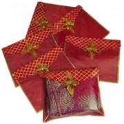 shoppyana COVER1 Brocade 6 Pieces Flip Saree Cover with golden broach. (Mehroon) COVER1(Maroon)