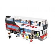 Sluban North America Luxurious Double Decker, 100% Lego Compatible Educational Toy Building Bricks ,Red White Black Bus, 741Pieces