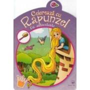 Coloreaza cu Rapunzel cu autocolante