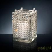 Suport pentru lumanare design LUX, realizat manual din sticla, NEFERTARI SQUARE 24x24cm